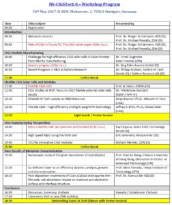 Programm of IW-CIGSTech 8