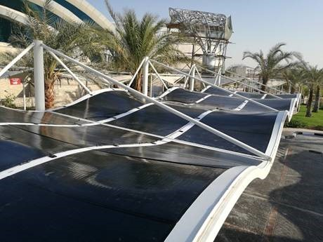 Architectural car port in Qatar (MiaSolé flexible modules)