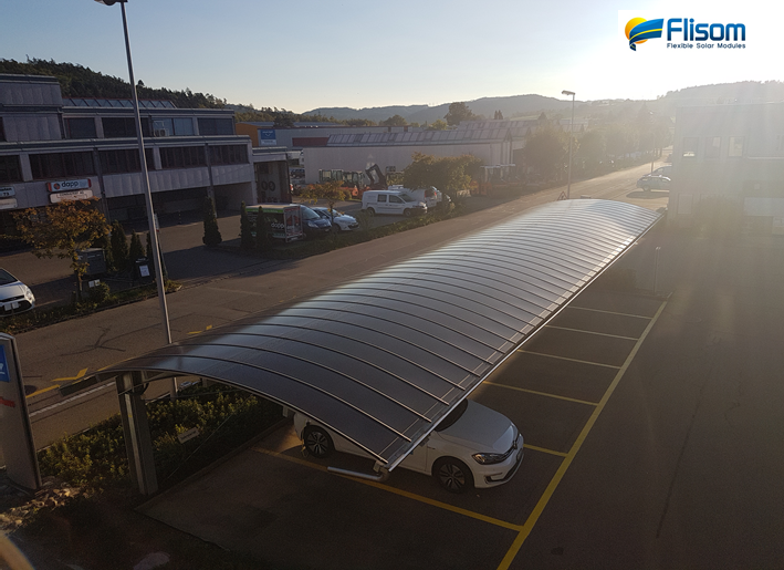 carport Flisom flexible solar PV modules